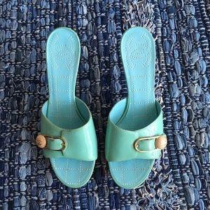 Chanel Patent Blue Wooden Heels Sandas